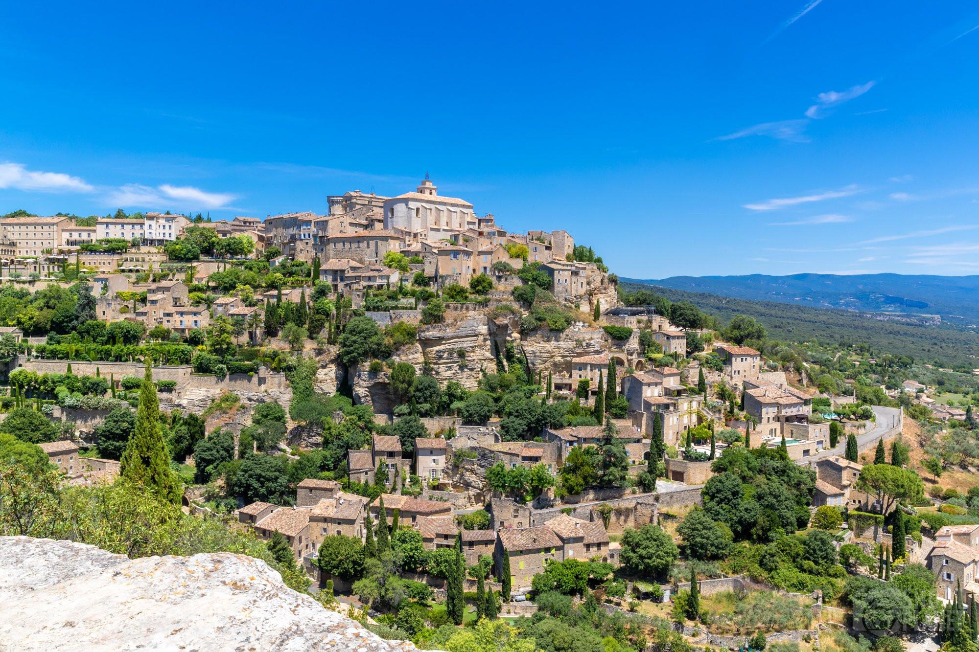 Gordes Provençal village aerial view in Vaucluse, France