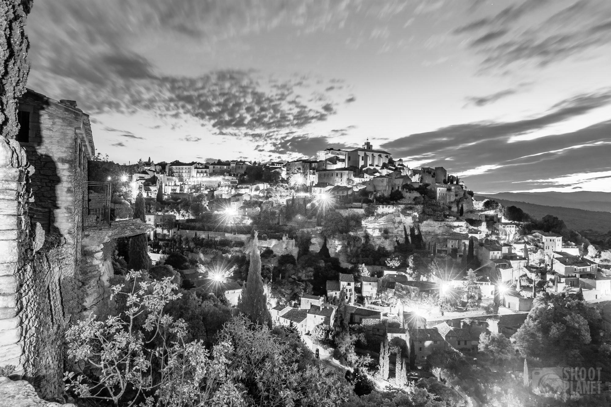 Beautiful Gordes village b&w twilight, Vaucluse, France