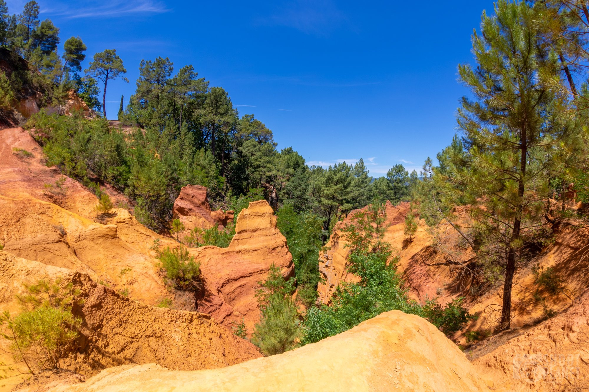 Ochre cliffs and trail, Roussillon Vaucluse, France