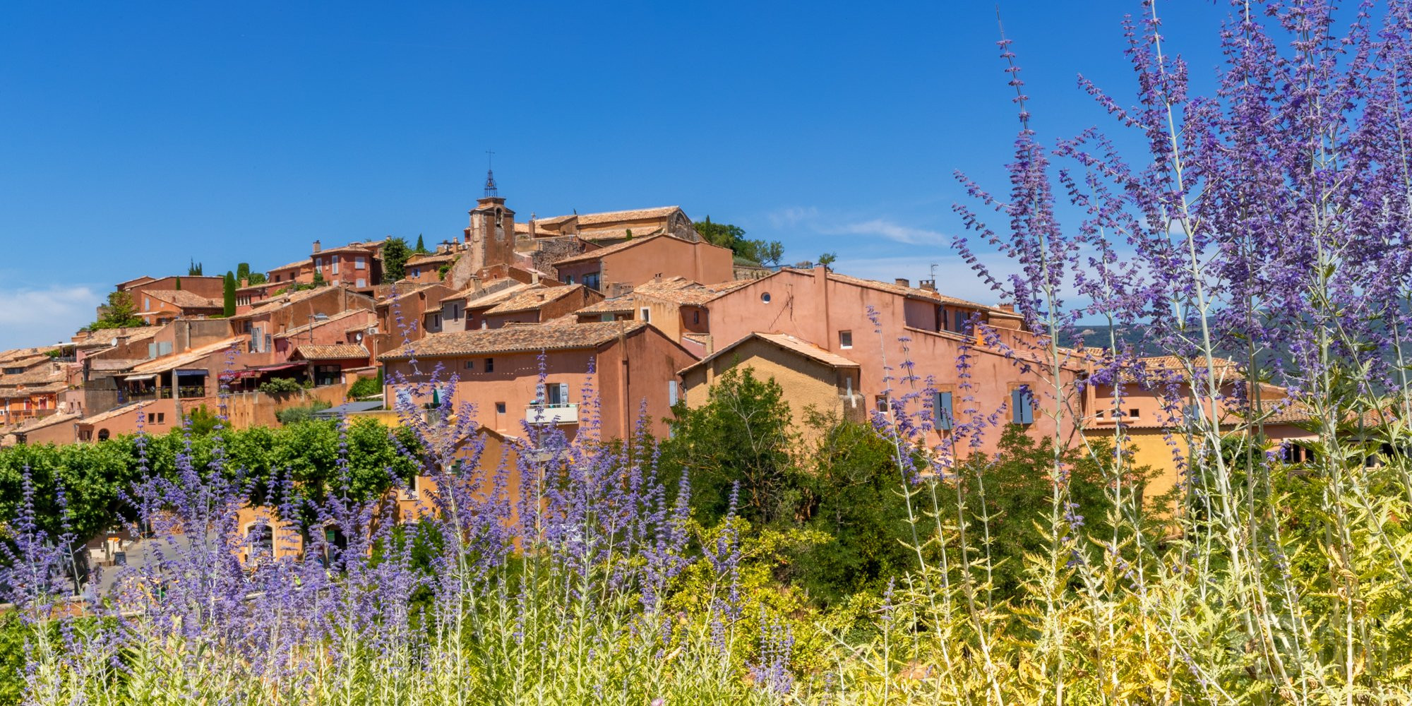 Roussillon Provençal village and lavenders panorama, France