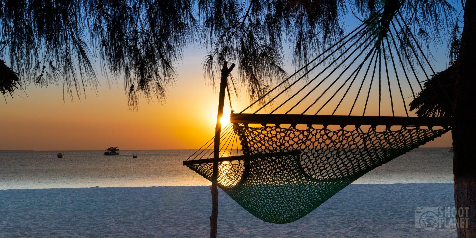 Kendwa beach hammock sunset Nungwi, Zanzibar Tanzania