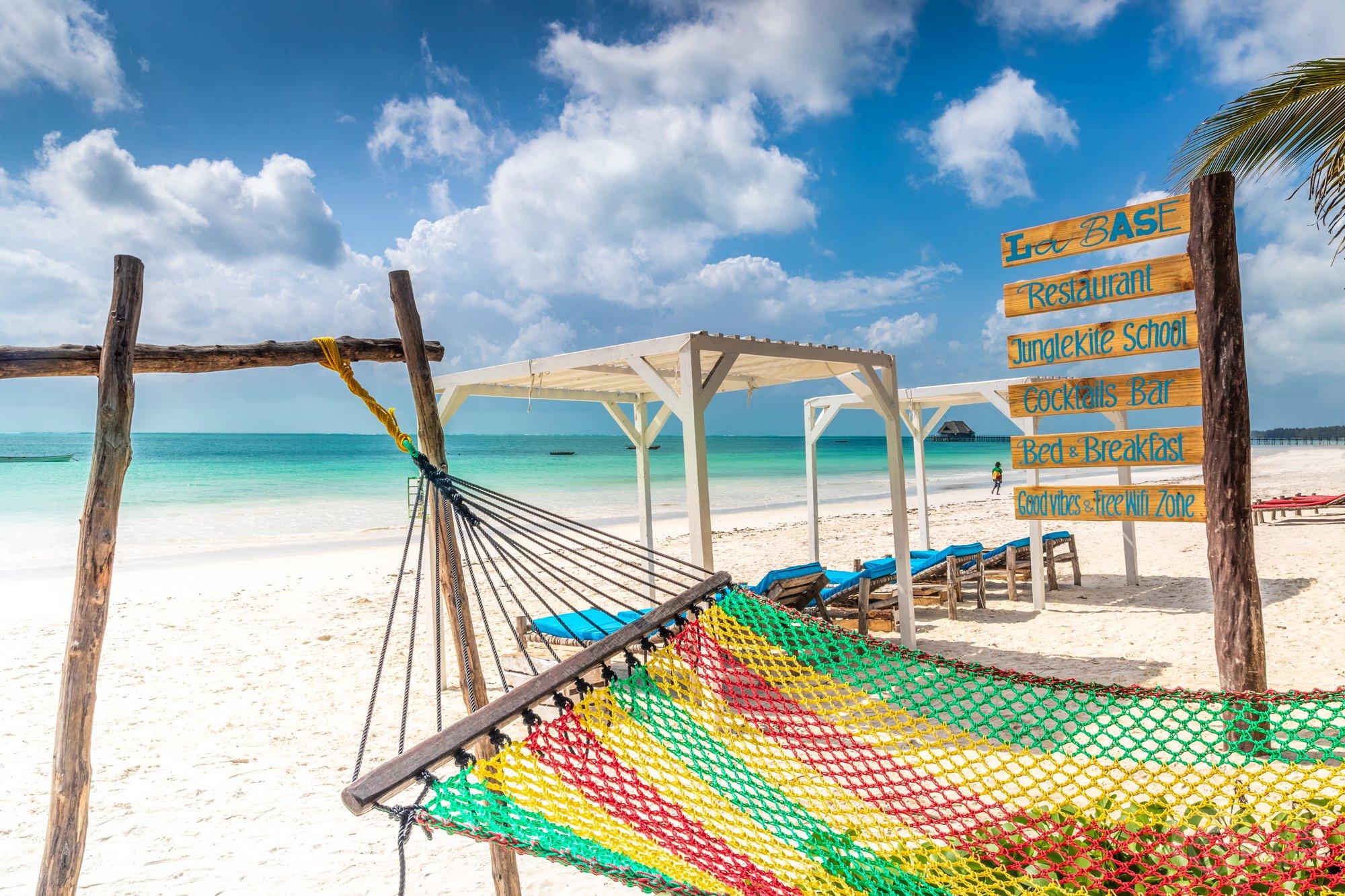 Kiwengwa beach colorful hammock Zanzibar Tanzania