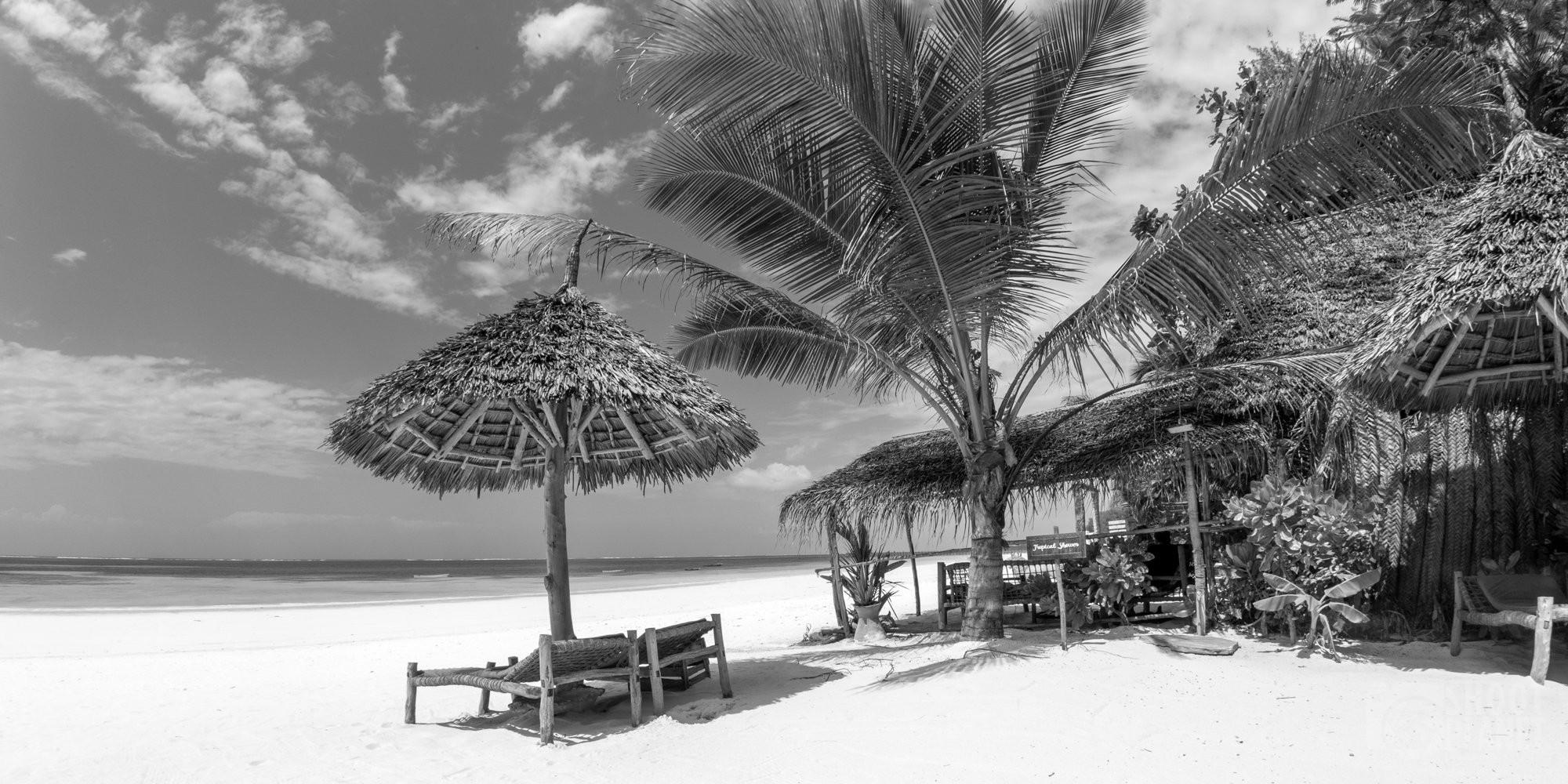 Kiwengwa beach b&w panorama, Zanzibar Tanzania
