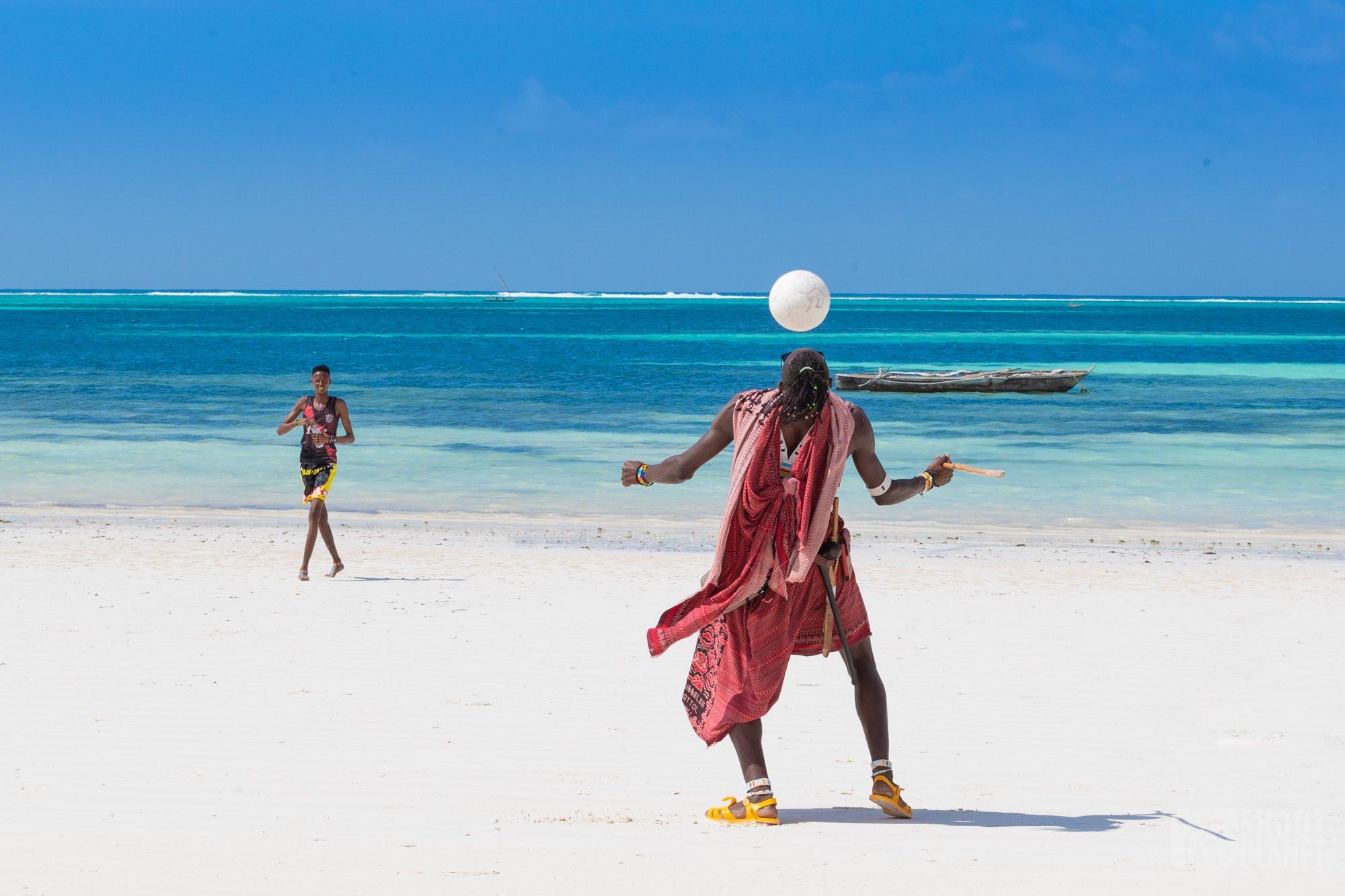 Kiwengwa beach soccer players Zanzibar Tanzania