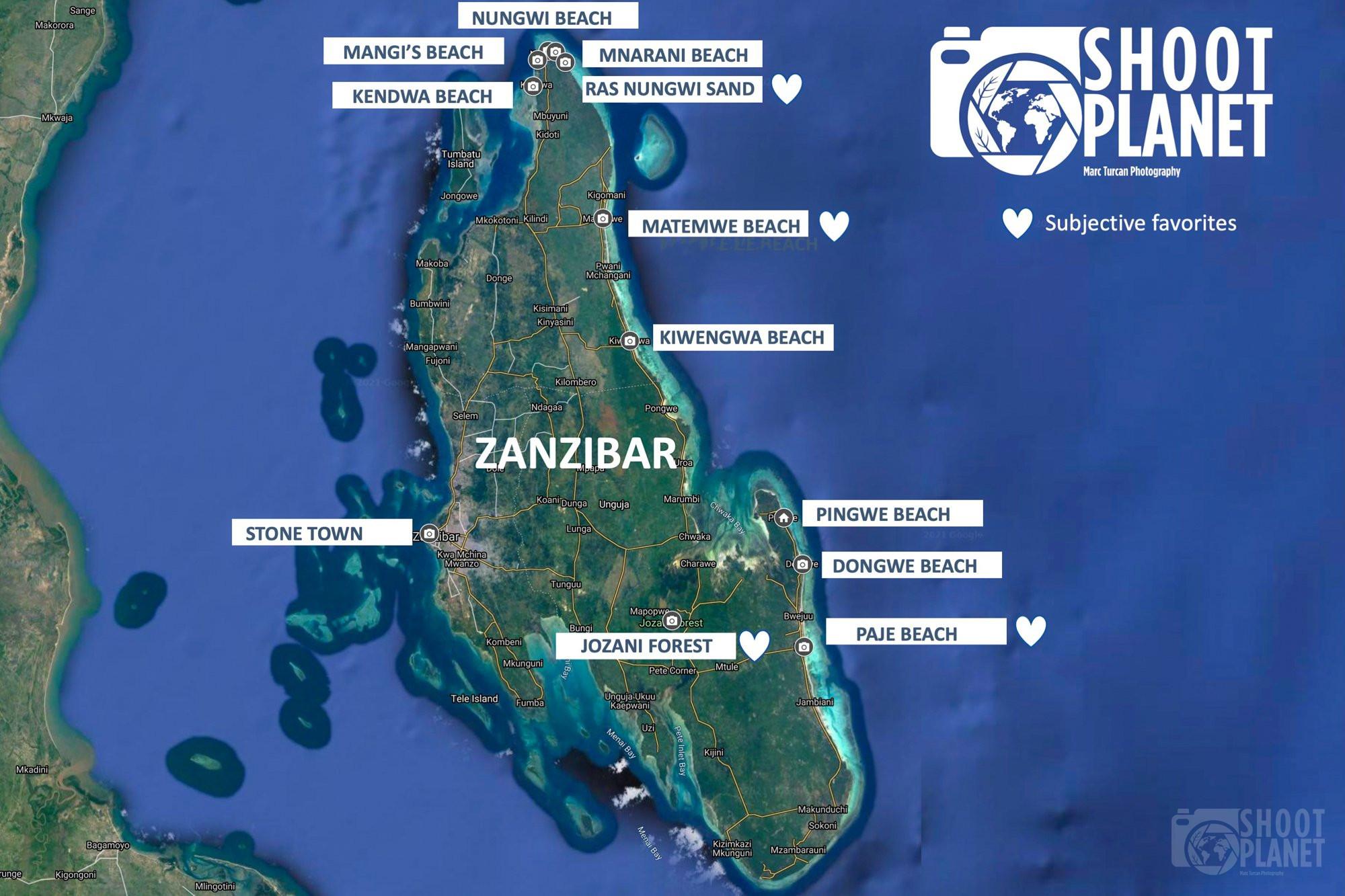 Zanzibar SHOOTPLANET best locations map, Tanzania