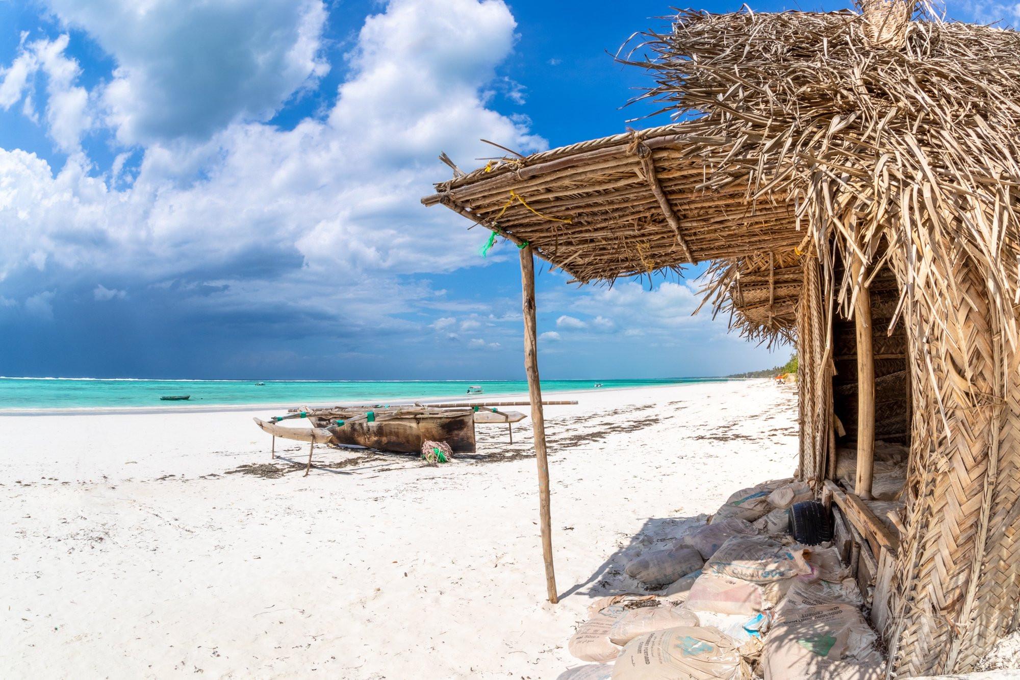 Matemwe beach hut and boat, Zanzibar Tanzania