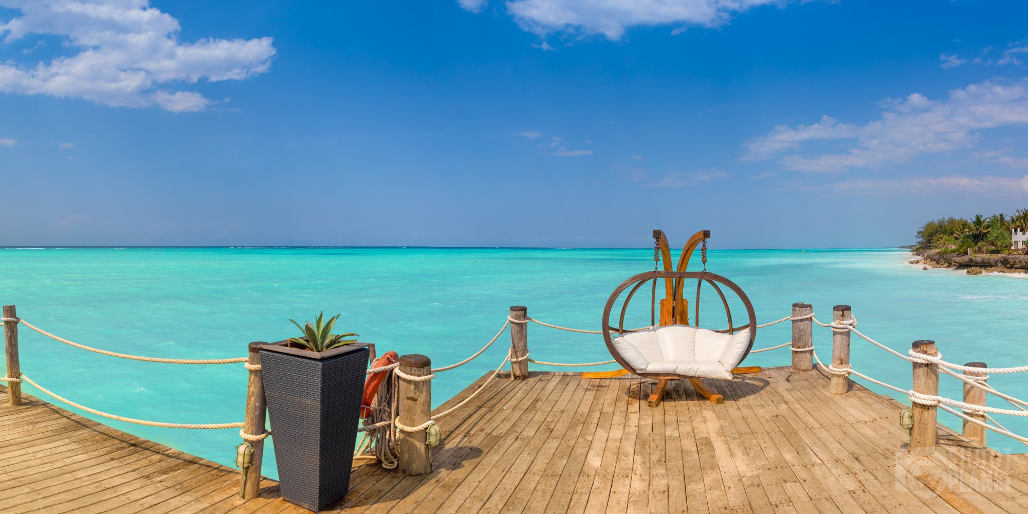 Luxury pier on Nungwi coastline, Zanzibar Tanzania