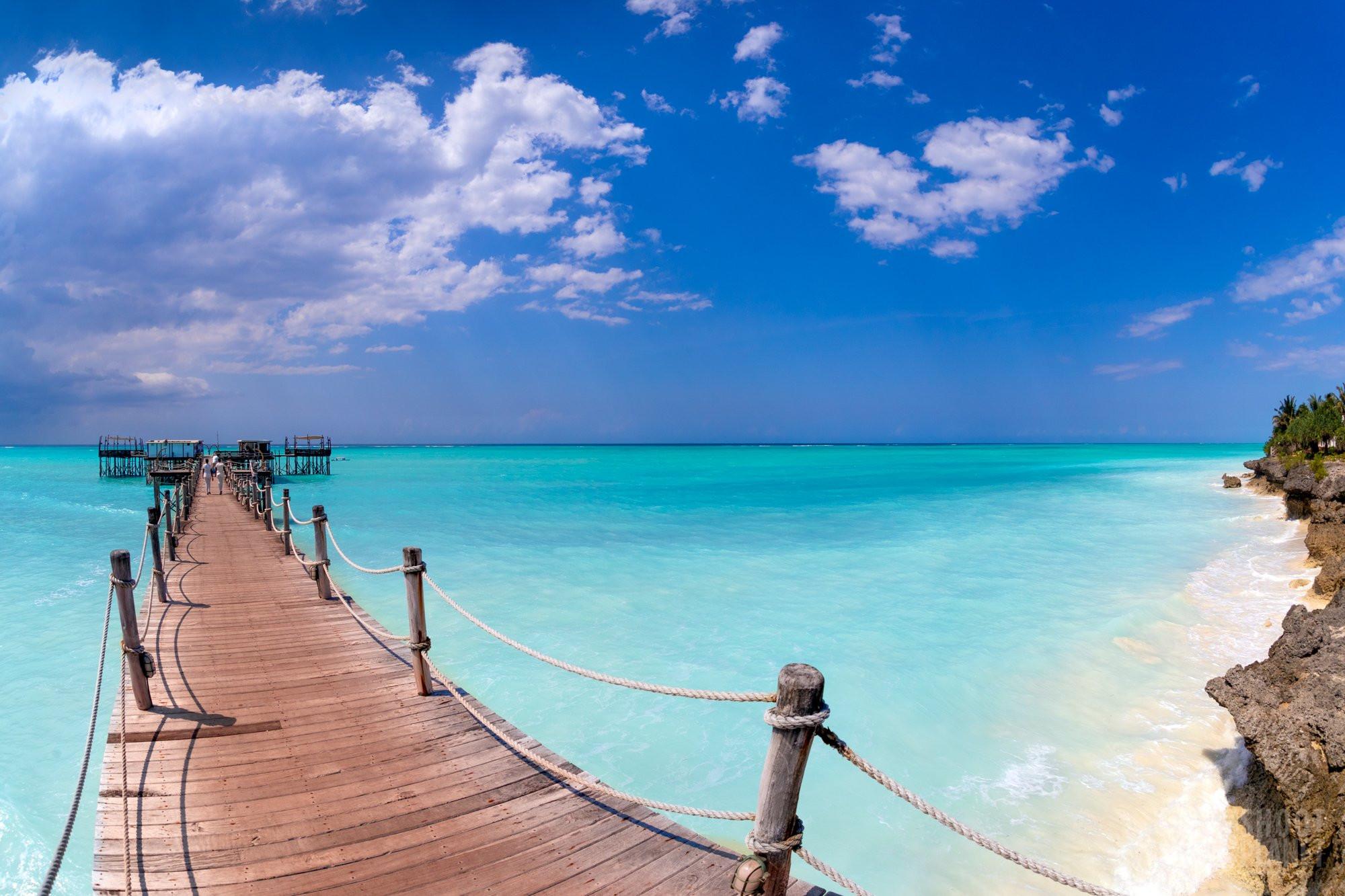 Nungwi coastline pier and beach, Zanzibar Tanzania