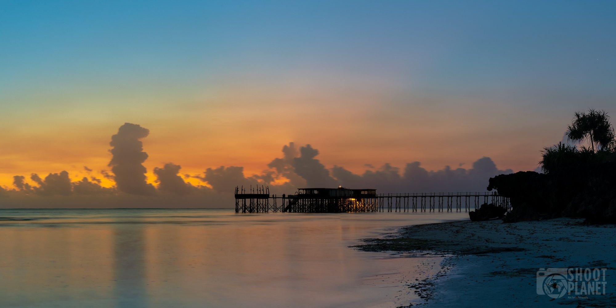 Nungwi beach pier sunrise, Zanzibar Tanzania