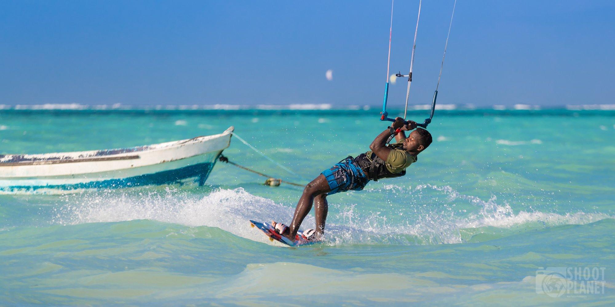 Kite surfers in Paje beach, Zanzibar Tanzania