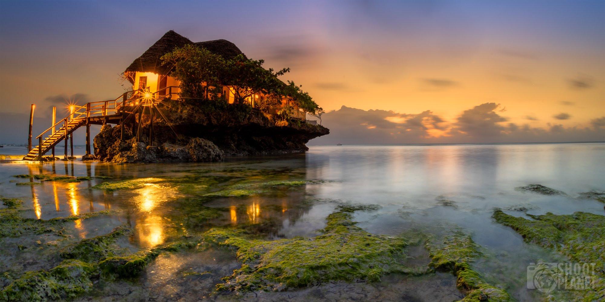 """Pingwe beach """"the rock"""" sunrise, Zanzibar Tanzania"""