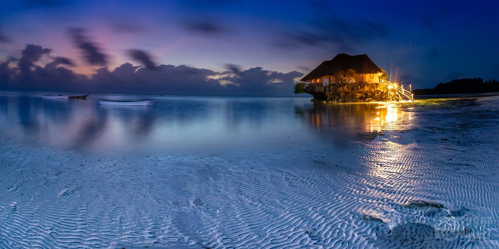 "Pingwe beach ""the rock"" twilight, Zanzibar Tanzania"