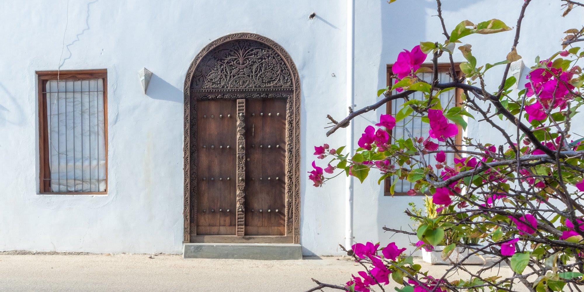 Ancient wooden door in Stone Town, Zanzibar