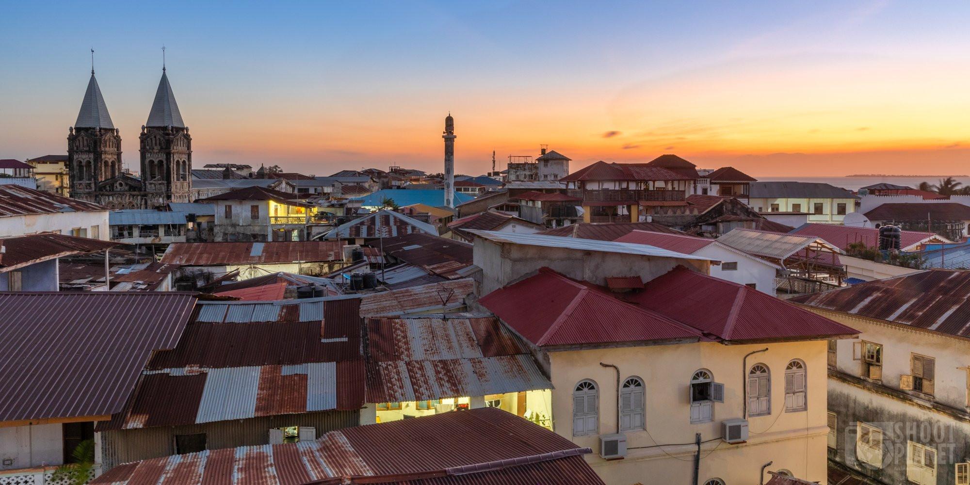 Stone town sunset skyline Zanzibar, Tanzania