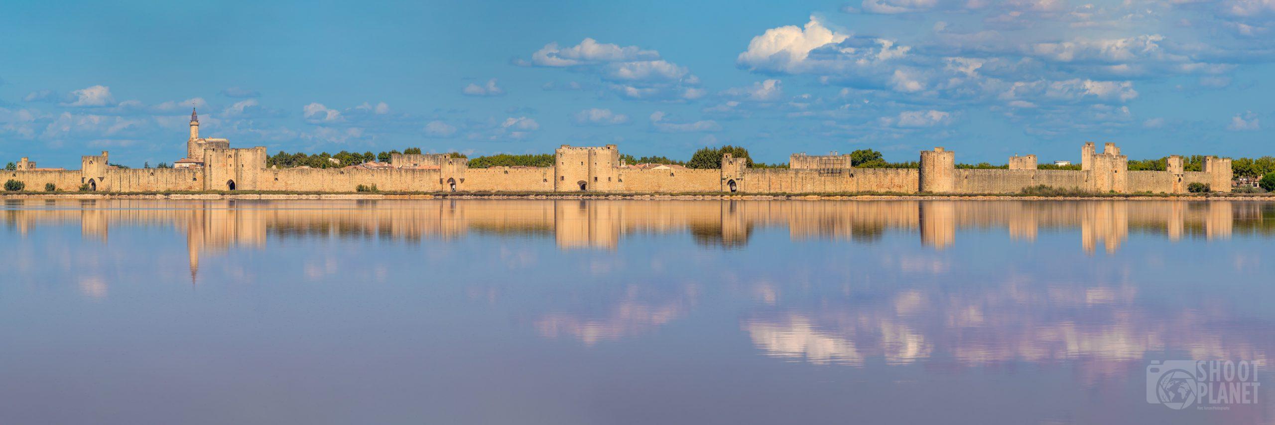 Aigues-Mortes walls and saltworks panorama, Camargue France