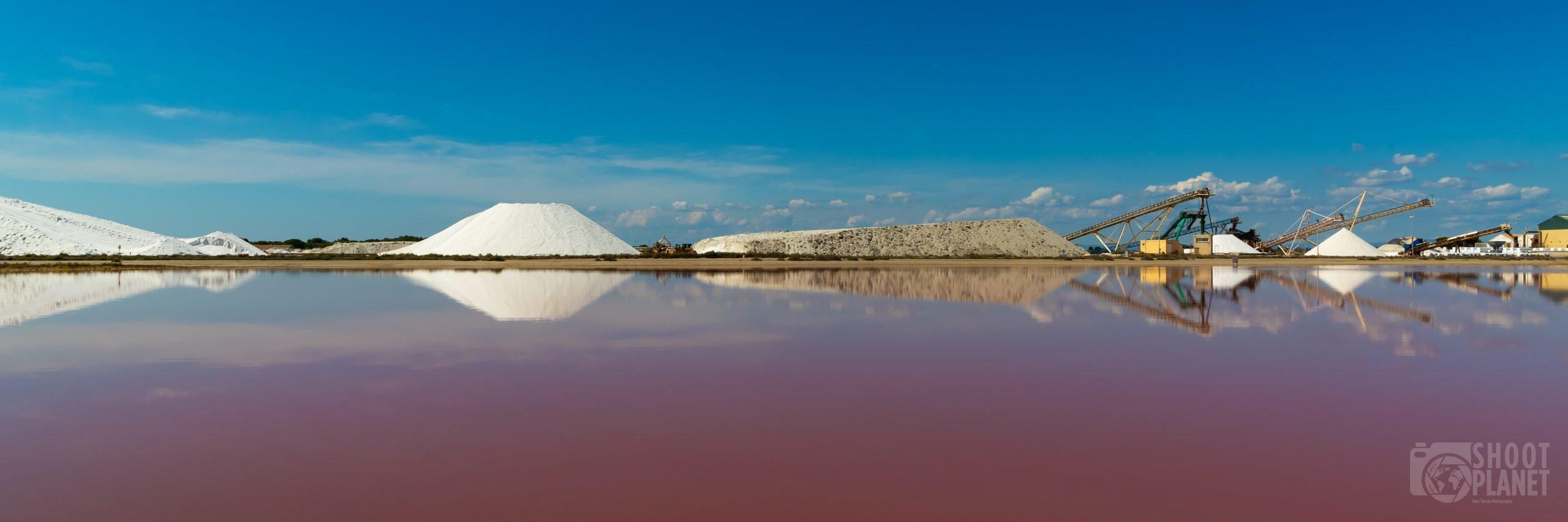 Aigues-Mortes colorful salt works factory, Camargue France
