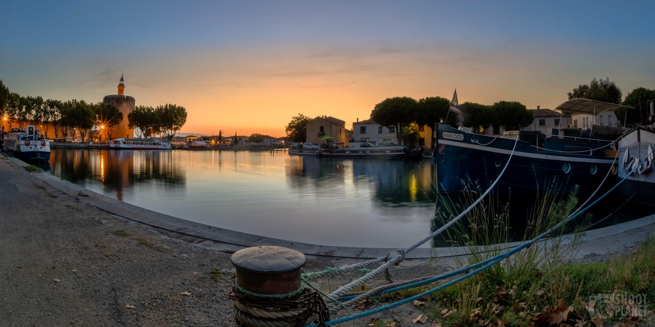 Aigues-Mortes marina and medieval city sunset, Camargue