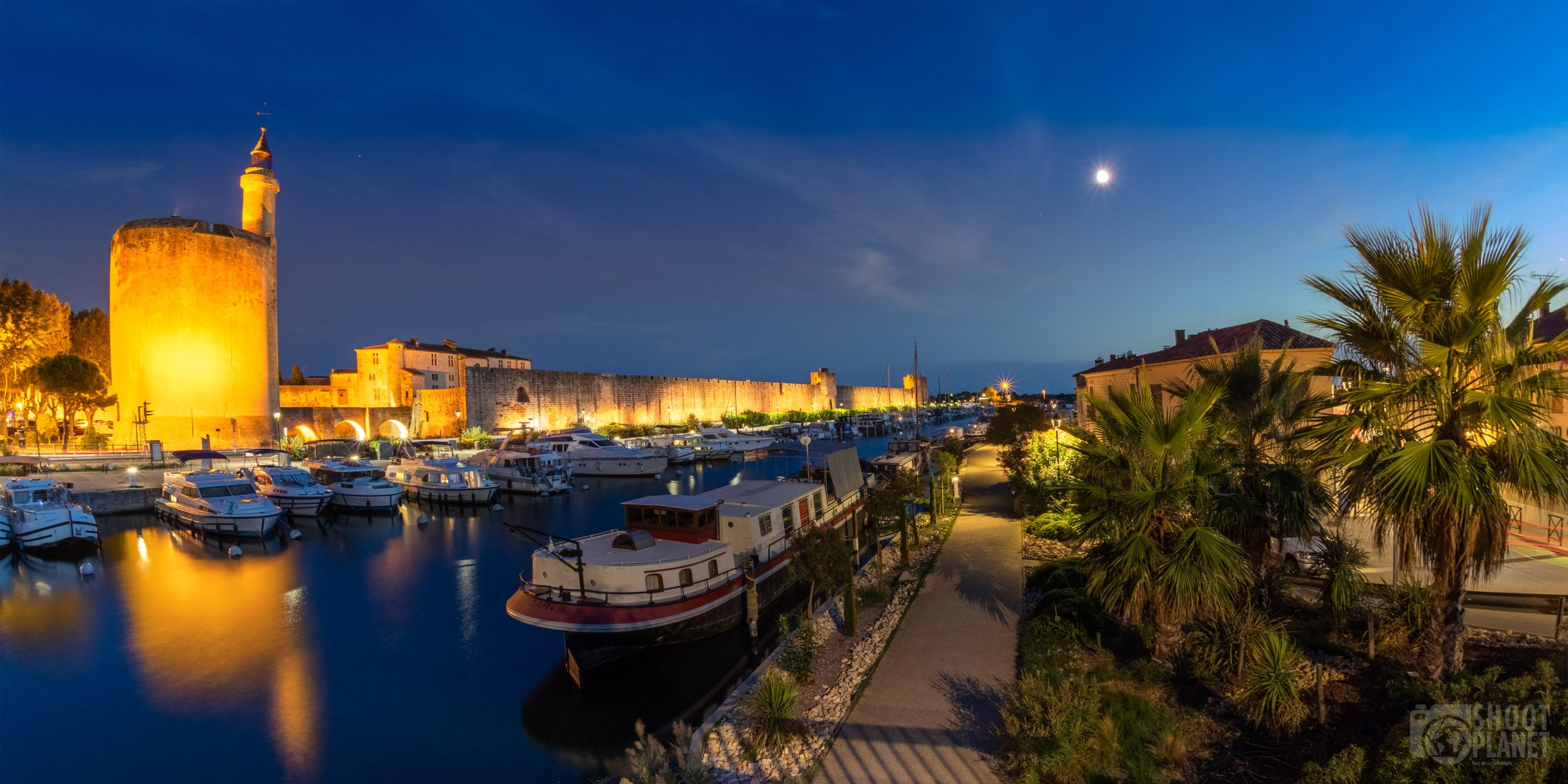 Aigues-Mortes city and canal twilight, Camargue France