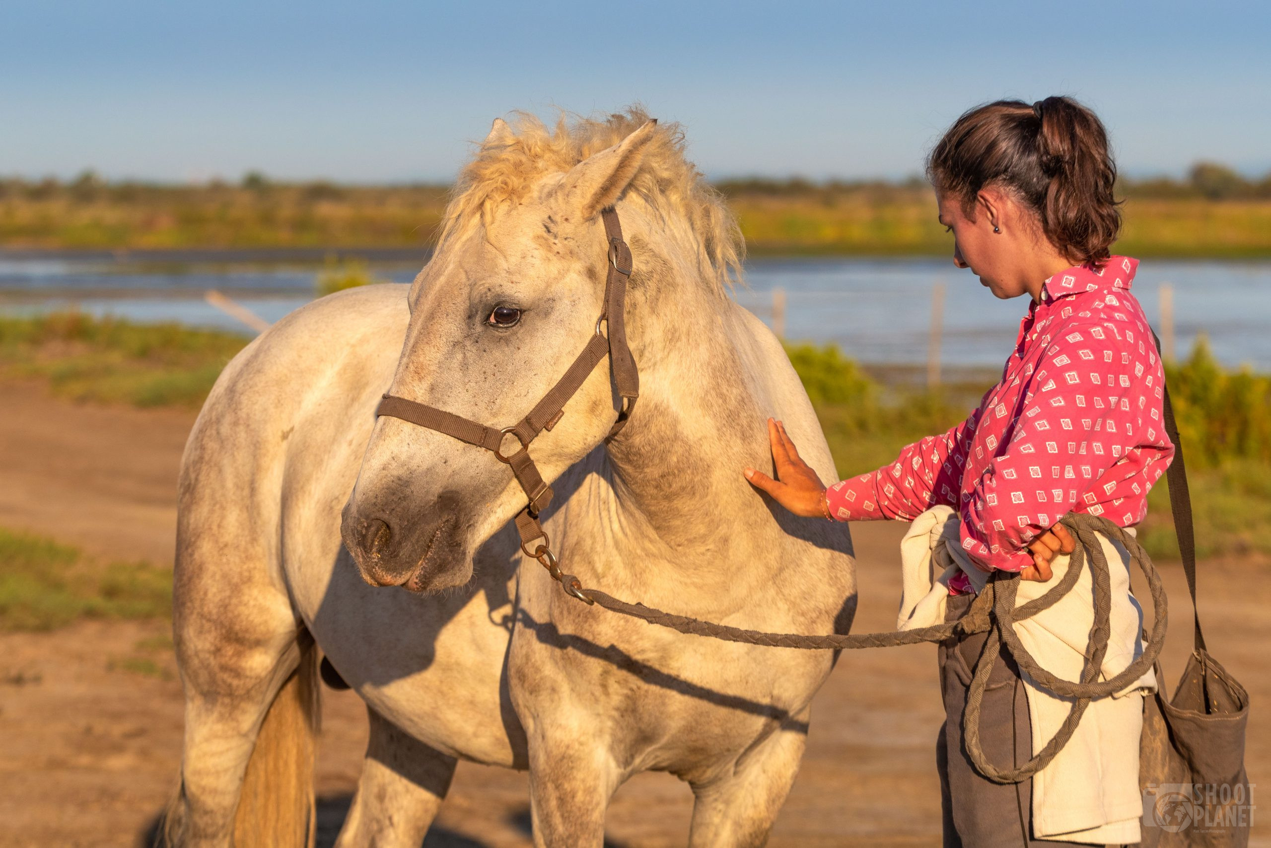 Horse and guardian love , Camargue France